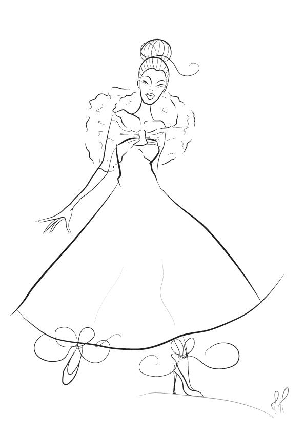 Black White Fashion Sketch by mettehdesign