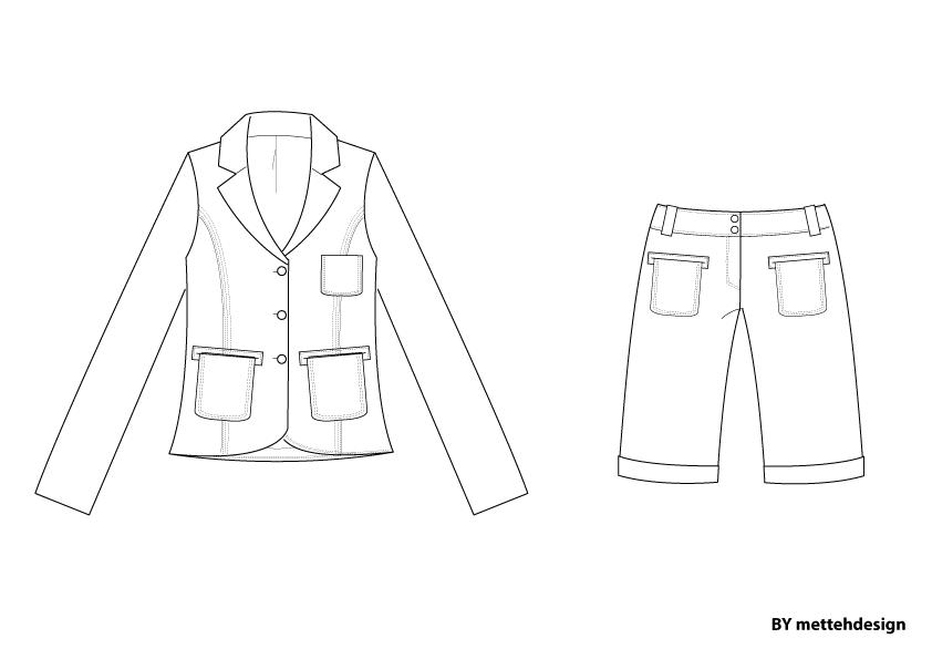 Jakkesæt med shorts. Jacket and Shorts by mettehdesign