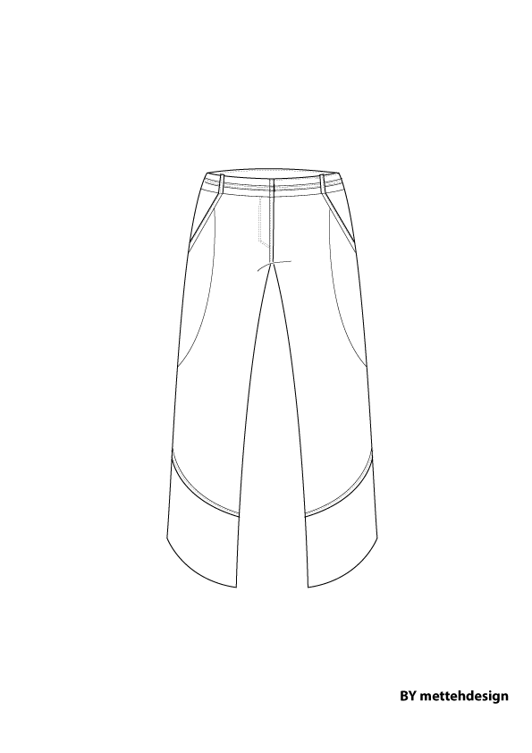 Pants silk with round cut by mettehdesign